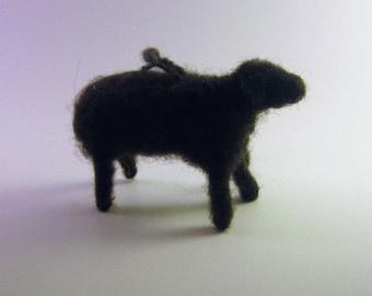 Felted Sheep Ornament, Handmade Black Sheep Ornament, Wreath Decoration, Lamb Ornament, Felted Farm Animal