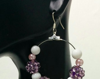 White and Purple bling disco Ball Dangling Hoop Earrings .925 sterling silver