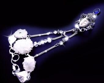 Gemstone slave bracelet, goddess bracelet, goddess face ring, druzy crystal bracelet, boho hand bracelet, OOAK, quartz crystal bracelet,