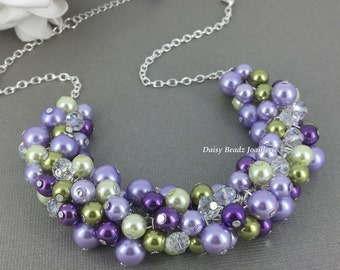 Olive and Purple Necklace, Lilac and Olive Necklace, Bridesmaid Necklace, Green and Purple Cluster Necklace, Bridesmaid