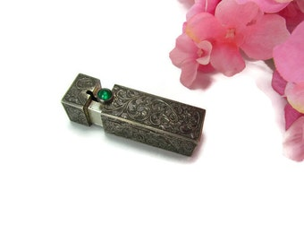 Vintage 800 Silver Lipstick Case with Emerald Green Stone