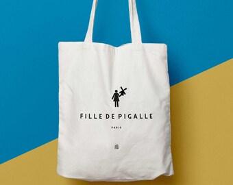 """Sac """"Fille de Pigalle"""", Paris, sac cabas, Tote bag, sac en toile, sac coton, sac à main, fourre-tout, sac de course, sac de cours, marché"""