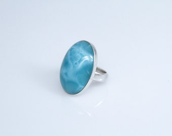 Larimar Ring, Weaves of the Sea Larimar Stones Pattern, US Size 7.5