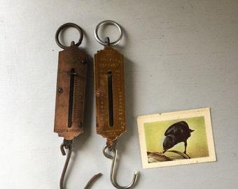 Pocket Balance weight scales vintage pair metal brass industrial hanging patina x 2