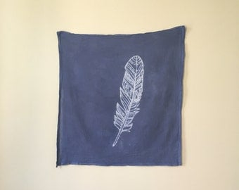 Navy Feather Tapestry