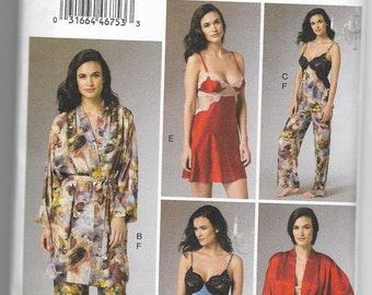 V9218 Vogue Robe, Belt, Camisole, Nightgown, and Pants Sewing Pattern Sizes 14-16-18-20-22