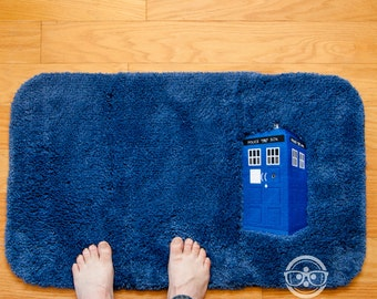 "Doctor Who ""TARDIS"" Inspired - Embroidered Bath Mat or Rug"