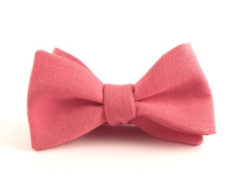 Melon Pink Bow Tie, Men's Melon Coral Pink Linen Bowtie - Traditional Self-Tie or Pre-Tied - SPECIAL OFFER!!