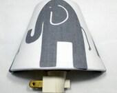 Grey Elephant Night Light / Safari Animals / Baby Shower Gift / Nursery Decor / Kid's Bedroom / Plug In Night Light / Home Decor / Modern