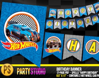 Hot Wheels Birthday Banner - INSTANT DOWNLOAD - Digital Printable - Happy Birthday Pennant
