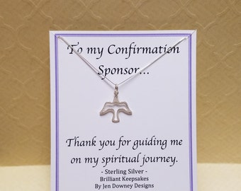 confirmation sponsor gift dove necklace sterling silver