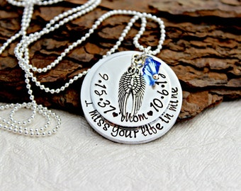 Memorial Necklace - Memorial Gift- In Loving Memory - loss of Mother - Remembrance Necklace - Memorial Jewelry - Sympathy Gift - Angel Wing