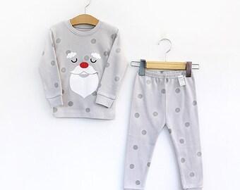 kids christmas santa pajamas -dot / PJs / Pajamas for kids / toddler size 12M-8
