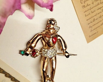 ViNTAGE KNAVE of HEARTS CAVALIER RhiNESTONE BrOOCH PiN. women's Vintage CosTUME jewelry, DoN Juan MaN Brooch PiN, Fairy Tales Rhinestone pin