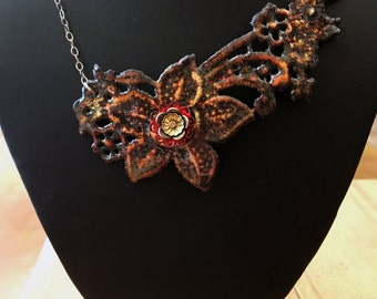 Enamel Flower Necklace