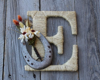 Rustic Wrapped Letter E,  Rustic Letter, Country decor, Twine wrapped letter, Horseshoe decor, Rustic Home Decor, Western Letter