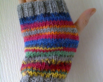 Striped wrist warmers - grey and bright colours - fingerless gloves