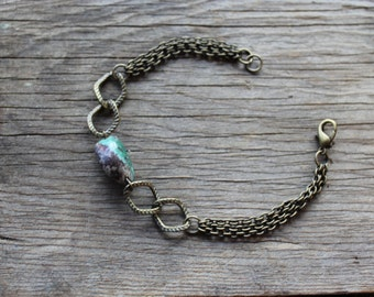 Natural Turquoise Stone and Brass Multi-Chain Bracelet