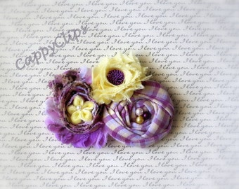 NEW Lavender and pale yellow Beaded Newborn Headband,Baby Headband,Girls Headband, Ladies Brooch, Ladies Hair Clip, Photo Prop.