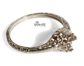 14k gold ring Setting without gemstone, 18k Solitaire Ring setting Engagement ring solid white gold ring, promise ring, antique ring setting