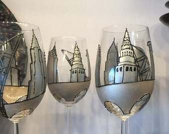 Cleveland City Scape Wine Glasses