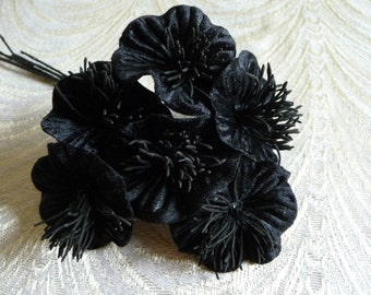 Velvet Millinery Flowers Black Poppies Yo Yo for Hats, Fascinators, Bouquets, Crowns, Head Bands, Crafts 2FN0035BK