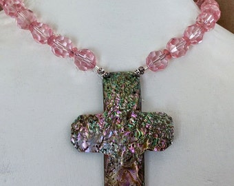 ABALONE Opal CROSS with Pink Crystals NECKLACE