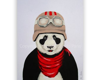 Panda painting, panda art,  ORIGINAL PAINTING on high quality 300g Clairfontaine Art paper, handpainted by Coco de Paris: