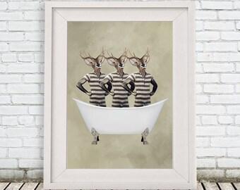 Deer Print,  Retro bathsuit, Stag, Retro deer, Deer Artwork, Deer Wall Hanging, 8x10, holiday gift, christmas gift, deers in bathtub