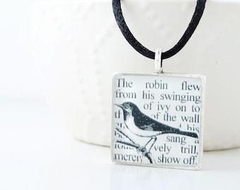 The Secret Garden - Bird Pendant - Secret Garden Necklace - Spring Jewelry - Secret Garden Book Jewelry - Nature Lover Gift