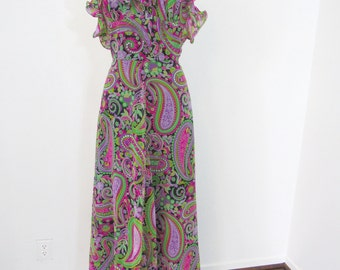 1960s - Early 1970s Paisley Chiffon Halter Maxi Dress in Luscious Colors