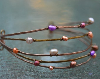 Hammered Pearl Bracelet - Handmade From Copper and Brass Adorned in Fresh Water Pearls
