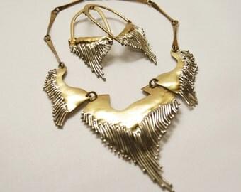 Spectacular Brutalist Necklace & Earring Set - Large - Signed - Brass - Huge Runway OOAK - Drip Fringe - Modernist Statement - 1980's