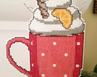 New Cup of Hot Chocolate Cross Stitch Christmas Ornament