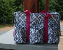 Monogrammed Gray Utility Tote Hot Pink Trim Personalized Beach Tote Pool Tote