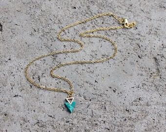Triangle and Emerald Stone Necklace // 16K Gold // Minimal Necklace // Layering Necklace // Tribal Necklace // Geometric Necklace