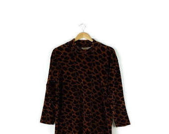Vintage Leopard/Animal Pattern Velour Long Sleeve Top from 1980's*