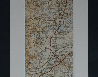 1920s Antique Hawkley Map, Wiltshire Decor, Available Framed, Selborne Art, East Liss Gift White Hill Picture Woolmer Forest Print Sheet Map