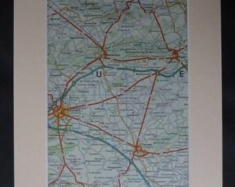 1980s Vintage Map of Tienen, Available Framed, Belgian Art, Leuven Decor, Kessel-Lo Gift, Heverlee Wall Art Belgium Picture European Artwork