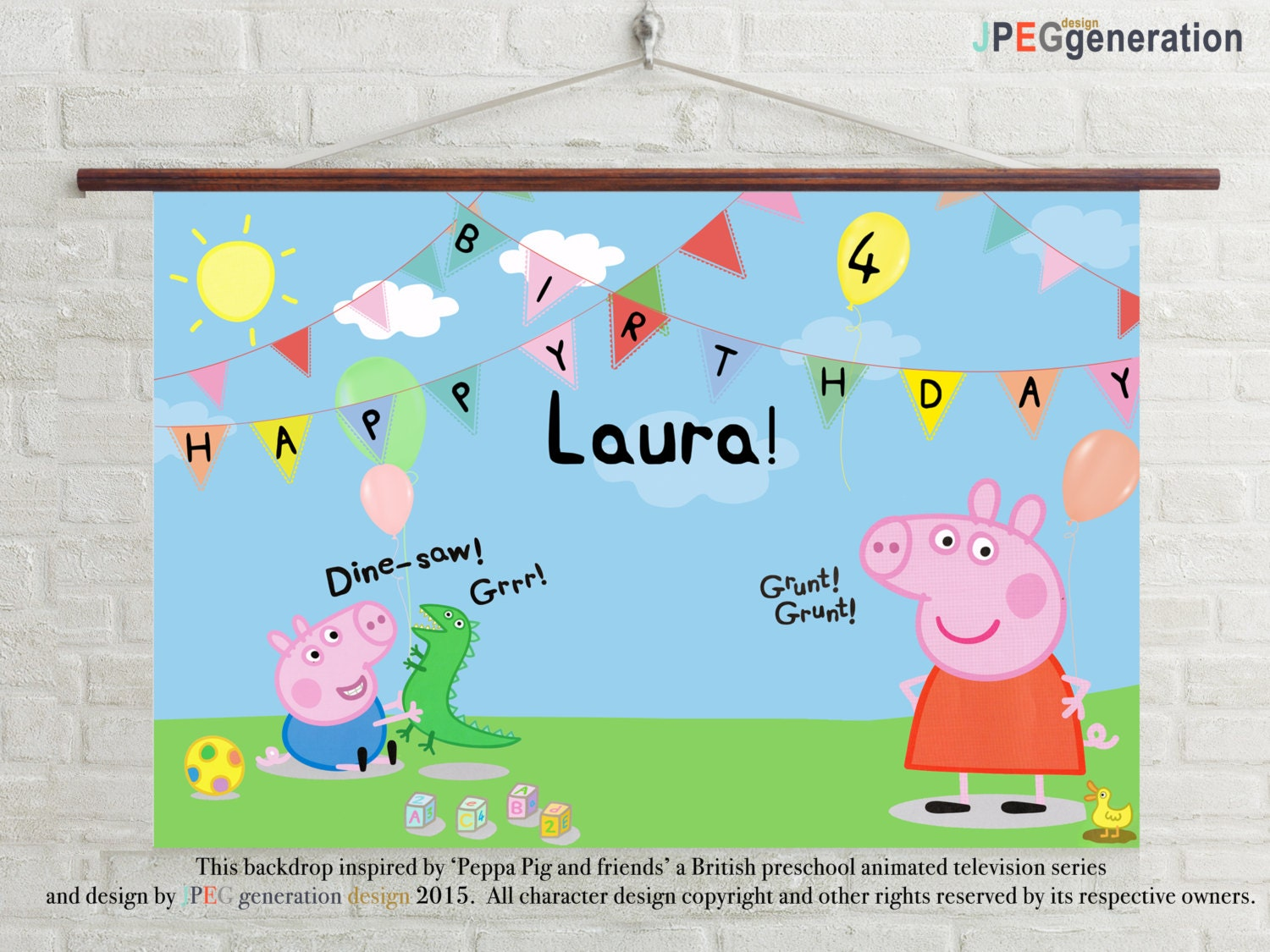 peppa pig party backdrop banner u0027s 1st birthday