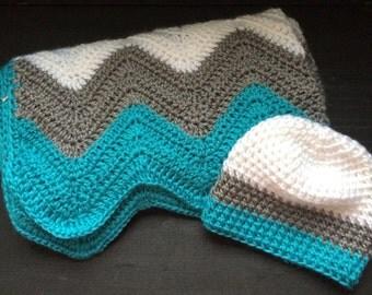 Crochet Chevron Baby Blanket with Matching Hat