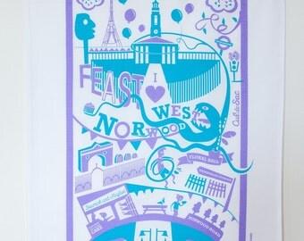 West Norwood tea towel / London illustration
