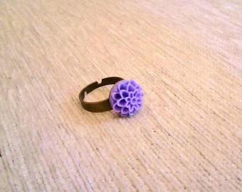 Vintagestyle Ring Dahlia Flower Purple Violett adjustable