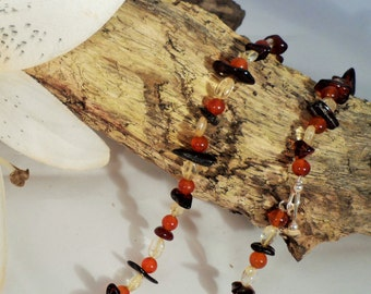 Amber, Carnelian and Citrine Necklace (GN 0009)