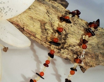 Amber, Carnelian and Citrine Necklace