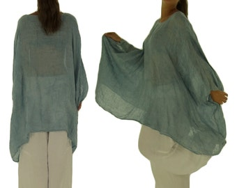 HH900HBL ladies tunic poncho blouse linen layered look one size light blue