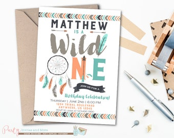 Wild One Birthday Invitation,  Wild One Invitation, Tribal Birthday Invitation, Tribal Invitation, Aztec Birthday Invitation, Arrows