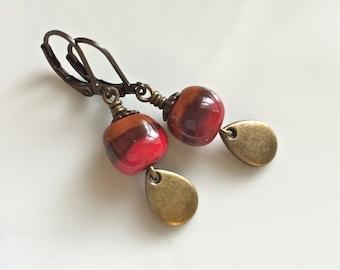 Red and Brown Clay Earrings  Bohemian Earrings  Red Dangle Earrings  Boho  Brass Earrings  Gypsy Dangles