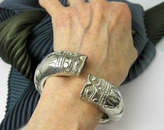 1850s Antique Nepalese Bracelet, Solid Silver, Handmade, Double Dragon Head Wrist Cuff. Nepal/ Tibet Tribal.