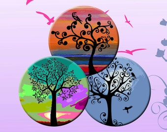 FUNKY SILHOUETTE TREES - Digital Collage Sheet 2.5 inch round images for Pocket Mirrors, Magnets, Paper Weights - Instant Download #185.